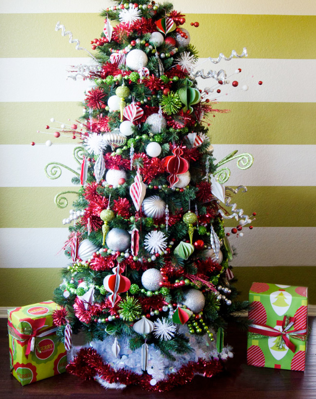 Christmas Tree Decorating Ideas - class red and green tree