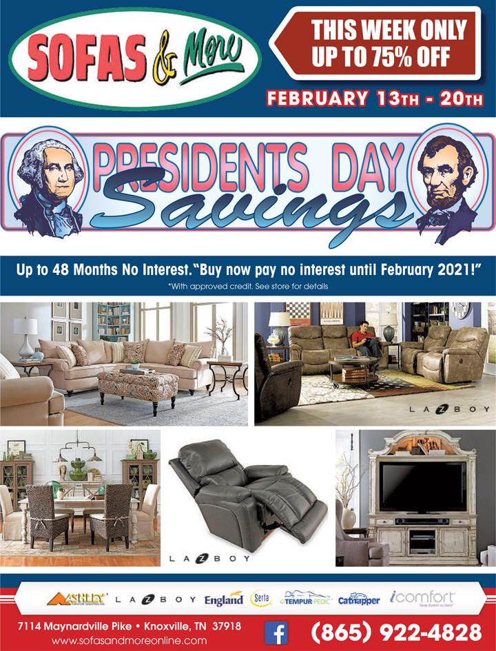 President 39 s day furniture sale sofas more knoxville tn for Furniture 60 months no interest